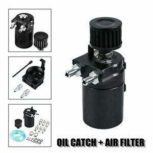 Oil Catch Reservoir Breather Can Tank Filter Kit Cylinder Aluminum Engine Blcak