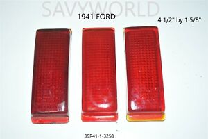 1941 Ford Red Glass Lens Tail Stop Light Cover Vintage Old Antique 311 3x Lot