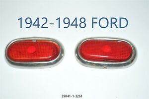 1942 48 Ford Red Glass Lens Tail Stop Light Cover Vintage Old Antique 313 2x Lot