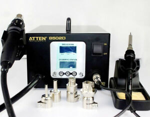 Atten At 8502d 900w 2 In 1 Dual Lcd Hot Air Rework Station Iron Soldering 220v