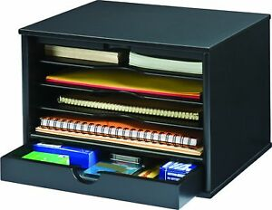 Victor Wood Midnight Black Collection 4 shelf Desktop Organizer Black