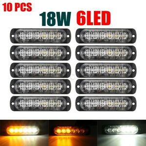 10x Amber White 6led Car Warning Hazard Emergency Strobe Flash Lights Lamp Kit