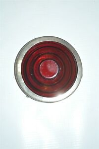 Red Glass Lens Tail Stop Light Cover Vintage Old Antique 906 With Bezel 3 25