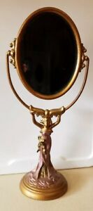 Vtg Art Nouveau Art Deco Table Top Vanity Mirror Figural Heavy Metal Bronze