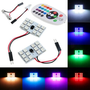 T10 5050 Led Rgb Interior Car Roof Dome Reading Light Lamp Bulb Remote Control