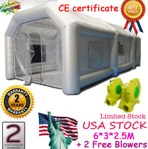 Inflatable Giant Spray Paint Booth Car Workstation Tent 6 3 2 5m Waterproof 2fan