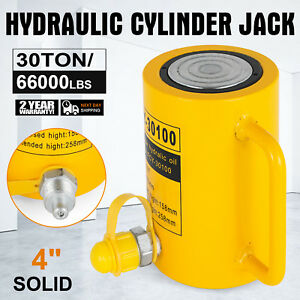 30 Tons 4 Solid Hydraulic Cylinder Jack 100mm 4inch Stroke Ram Single Acting