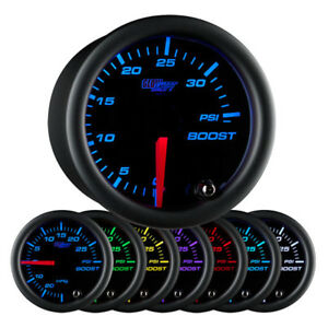 Glowshift Black Clear Lens 7 Color 35 Psi Boost Gauge 52mm Gauge Gs C70135
