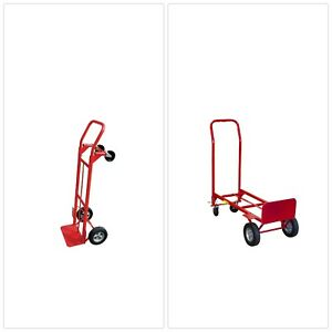 Milwaukee Convertible Hand Truck Dolly Converts From 2 Wheel To 4 Wheel Cart