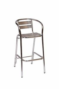 Aluminum Outdoor Restaurant Bar Stool With Arms Slats Commercial Cafe