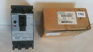 Siemens Ed63a003 3 Amp 3 pole 600 Volt Breaker Motor Circuit Interrupter New