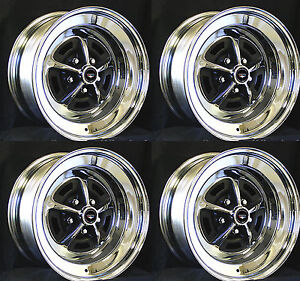New Ford Magnum 500 Wheels 14 X 7 Set Of Complete W Black Caps And Nuts