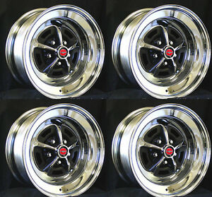 New Ford Magnum 500 Wheels 14 X 7 Set Of Complete With Red Caps And Nuts