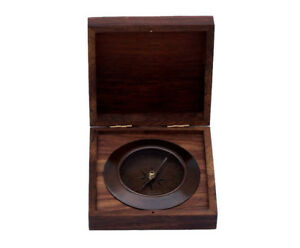 Ships Admiral S Compass Antique Copper 5 Desktop Rosewood Case Nautical Decor