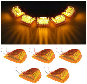 5 Amber 17 Led Cab Roof Running Top Clearance Marker Light Assembly For Kenworth