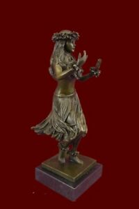 Hawaiian Girl Malina Sculpture Hula Girl Dancer Desktop Decor Pure Bronze Figure