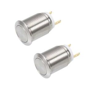 2 Pieces 12mm Momentary Push Button Switch Flat Head 3a 250v