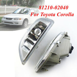 81210 02040 2pcs Clear Front Bumper Driving Fog Light For 2001 02 Toyota Corolla