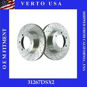 Front Brake Rotors Drill Slot For Toyota Sequoia 2003 2007 Tundra 2003 2006