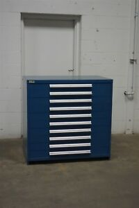 Used Vidmar 10 Drawer Cabinet Industrial Tool Storage 45 Wide 44 Tall 1552