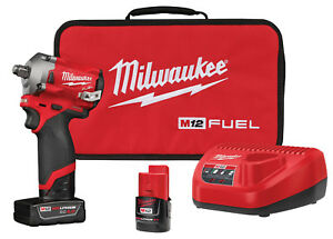 New Milwaukee M12 Fuel 1 2 Dr Stubby Impact Wrench Kit 250 Ft Lbs 2555 22