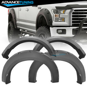Fits 15 18 Ford F150 Pocket Style Fender Flares Black 4pc Pp Textured