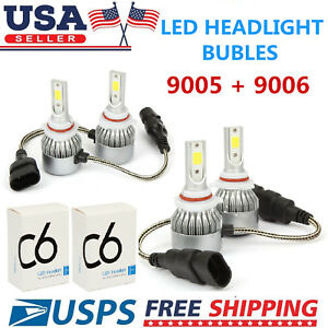 Combo 9005 9006 Led Headlight Bulbs Kit For Honda Accord 1997 2007 High Low Beam