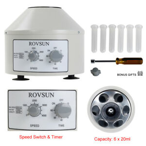 4000rpm Electric Centrifuge Machine Lab Laboratory Medical W Timer 6x20ml Rotor