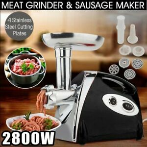 Electric Meat Grinder Commercial Butcher 2800w Mincer 4 Cutting Blades Hm
