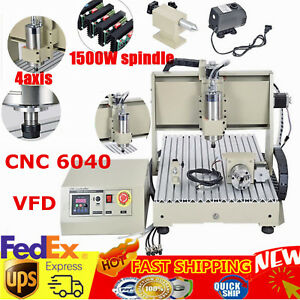 1 5kw 4 Axis Spindle Engraver 6040 Cnc Router Engraving Milling Carving Machine