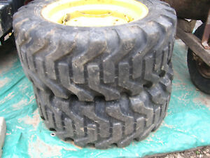 Nice 27x10 5x15 Skid Steer Tires Pair Mounted On 6 Hole Rims