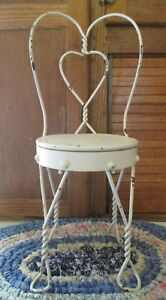 Vintage Ice Cream Parlor Chair For Large Dolls Heart Design Shabby Chic