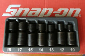 Snap On Tools 3 8 Drive 7 Pc Shallow Metric Impact Swivel Socket Set 207ipfm