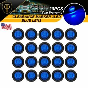 20x Mini 3 4 Blue Side Led Clearance Marker Bullet Truck Trailer Light Lamp Us
