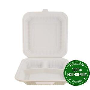 Helogreen Eco friendly Cornstarch Takeout To go Hinged Food Containers