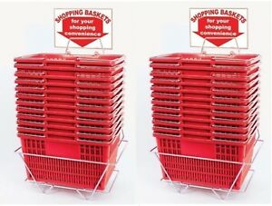 New 24 Standard Shopping Baskets Chrome Handles Metal Stand And Sign Red