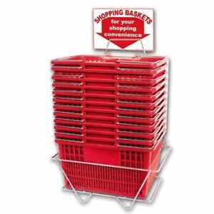 New 12 Standard Shopping Baskets Chrome Handles Metal Stand And Sign Red