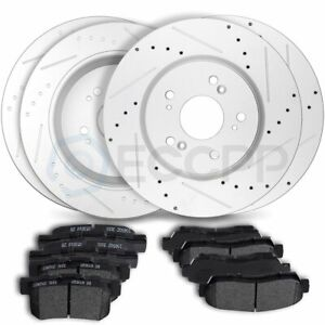 Front And Rear Discs Brake Rotors Ceramic Pads For 2007 2011 Honda Cr v Slotted