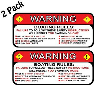 2 Pack Warning Boating Rules Funny Decal Sticker 398