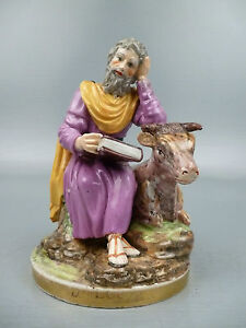Antique 18th Century Niderviller French Porcelain Figurine Of St Luke Luc Pc