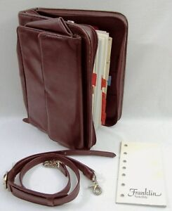 Vtg Franklin Covey Grain Leather Binder Planner Organizer Bag Strap Page Refills