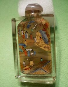 Vintage Reverse Painted Snuff Bottle With Intricate Chinese Village Scenes