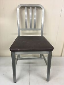 Goodform Navy Brushed Aluminum Industrial Chair Mcm Mid Century Modern