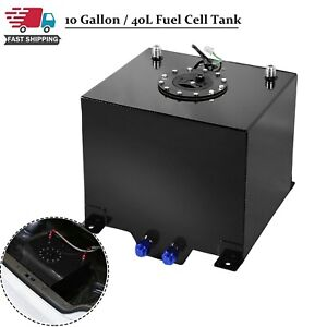 Level Sender Lightweight Coat Aluminum Race Drift Fuel Cell Tank 10 Gallon Bk