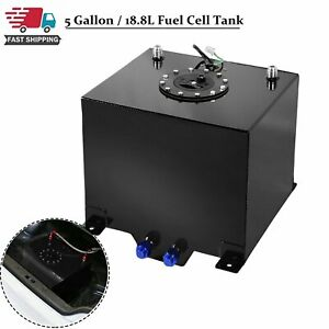 5 Gallon Coated Aluminum Fuel Cell Gas Tank Level Sender Racing drifting Black