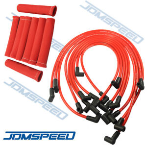 Jdmspeed Plug Wires Set With Boots Heat Shield Protector Sbc Bbc Hei 350 383 454