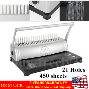 Manual 21 hole Paper Comb Punching Binding Machine 450 Sheets Binder Square Hole