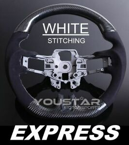 Express Alcantara Suede White Stitch Carbon Steering Wheel Ford Mustang 15 17