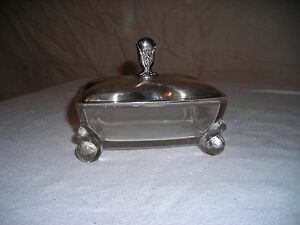 Vintage International Silverplate Glass Footed Candy Dish