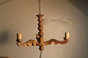 Small Rare Hall Antique Vintage French Wood Carved Chandelier Castle L91